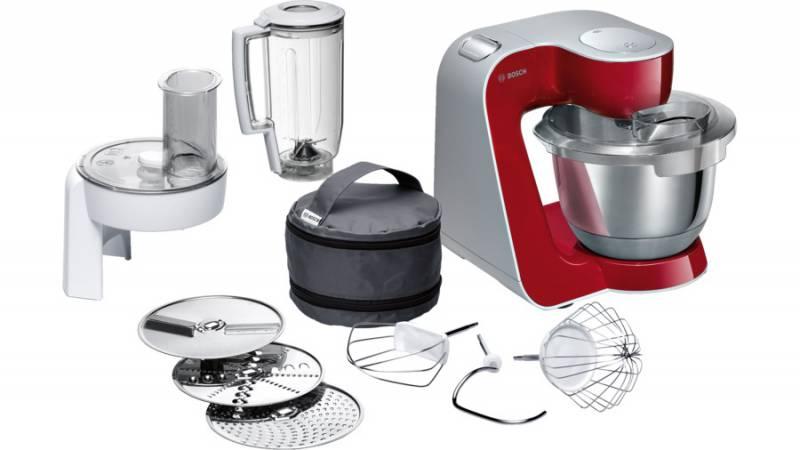Кухонная машина Bosch MUM58720 планетар.вращ. 1000Вт красный/серебристый