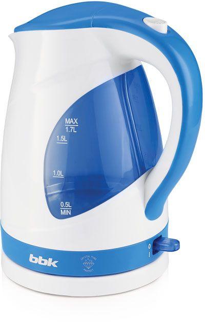 Чайник электрический BBK EK1700P 1.7л. 2200Вт белый/голубой (корпус: пластик)