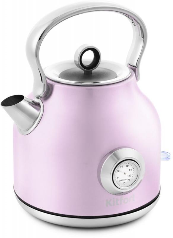 Чайник электрический Kitfort КТ-673-4 1.7л. 2200Вт розовый (корпус: нержавеющая сталь)