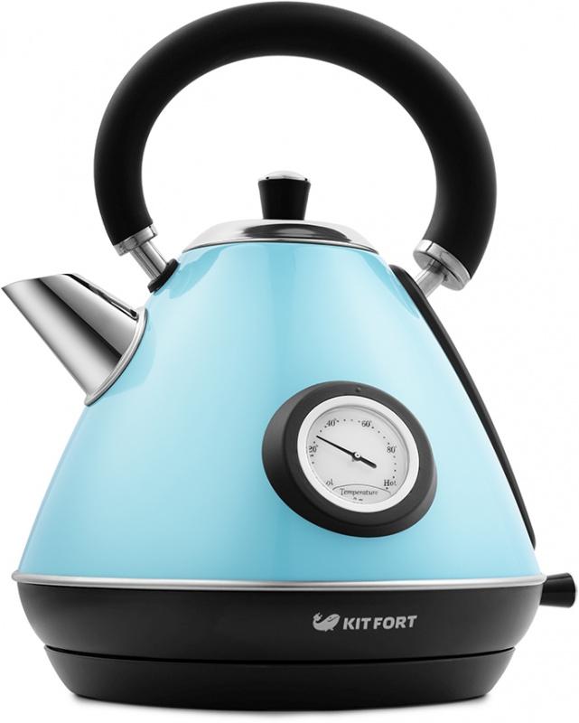 Чайник электрический Kitfort КТ-644-1 1.7л. 2200Вт голубой/черный (корпус: нержавеющая сталь)