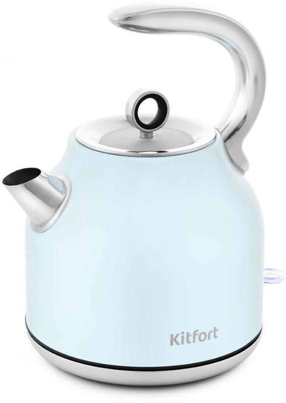 Чайник электрический Kitfort KT-675-2 1.7л. 2200Вт голубой (корпус: нержавеющая сталь)