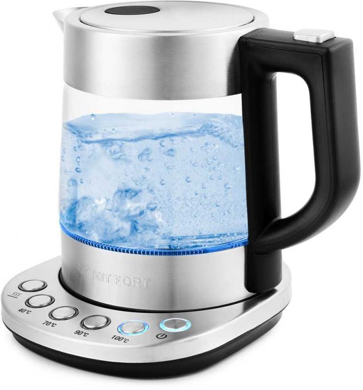 Чайник электрический Kitfort КТ-648 1л. 2200Вт нержавеющая сталь/черный (корпус: стекло)