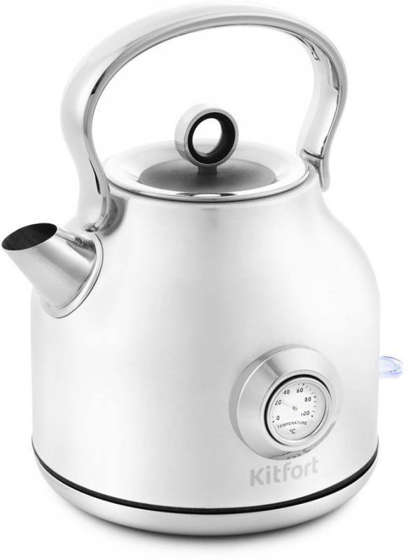 Чайник электрический Kitfort КТ-673-1 1.7л. 2200Вт белый (корпус: нержавеющая сталь)