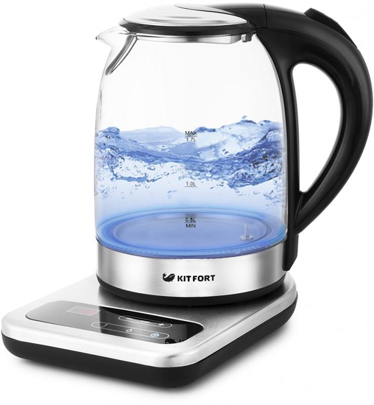 Чайник Kitfort КТ-657 1.7л. 2200Вт нержавеющая сталь/черный (стекло) (плохая упаковка)