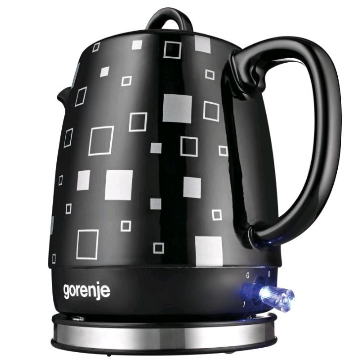 Чайник электрический Gorenje K10BKC 1л. 1630Вт черный матовый (корпус: керамика)