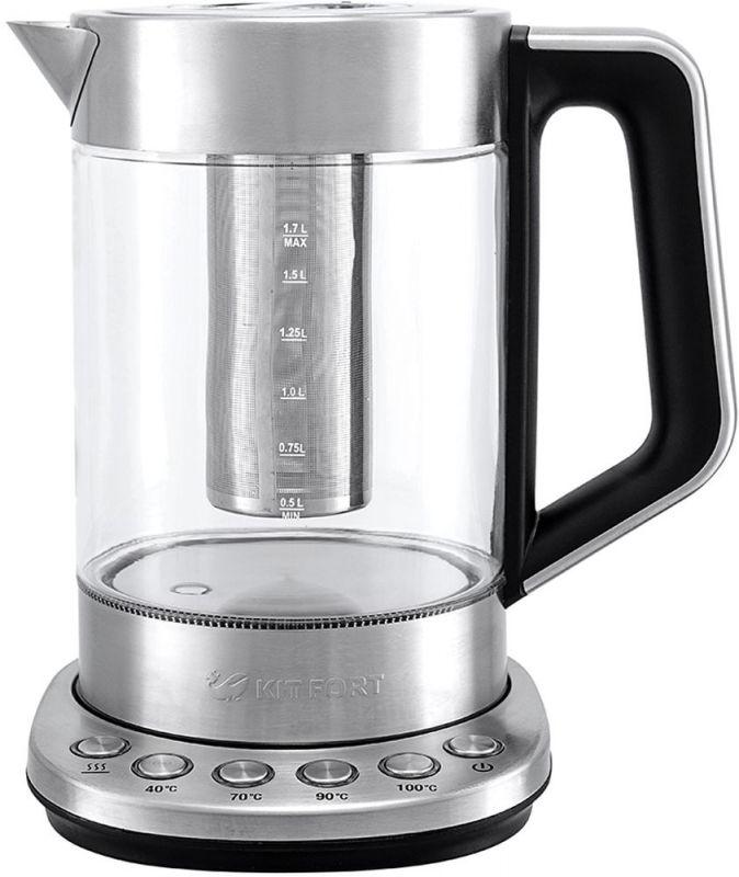 Чайник электрический Kitfort КТ-622 1.7л. 2500Вт серебристый (корпус: стекло)