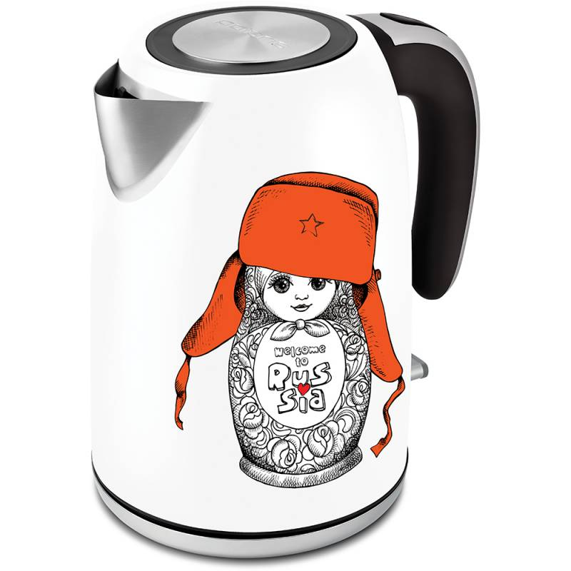 Чайник электрический Polaris PWK 1815CA 1.8л. 2000Вт белый/рисунок (корпус: нержавеющая сталь)