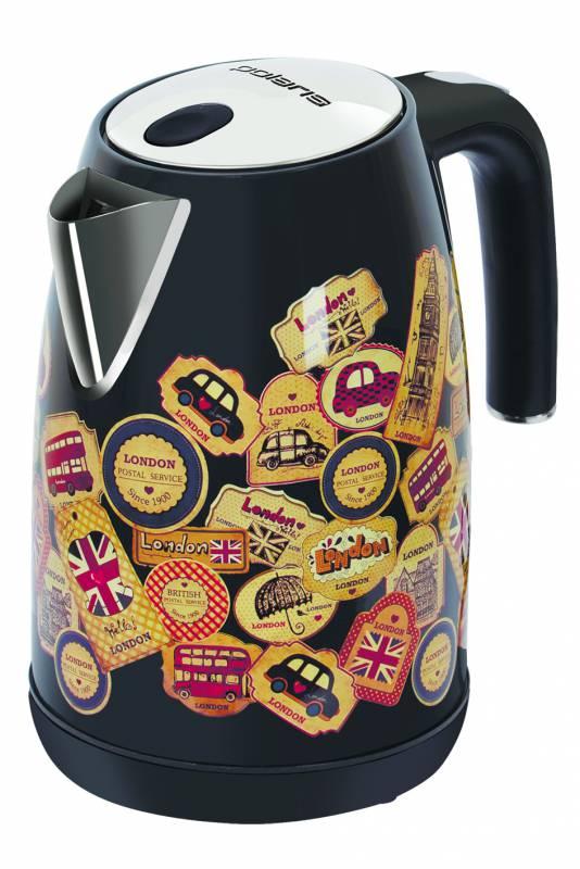 Чайник электрический Polaris PWK 1882CA London 1.8л. 2200Вт черный глянец/рисунок (корпус: металл)