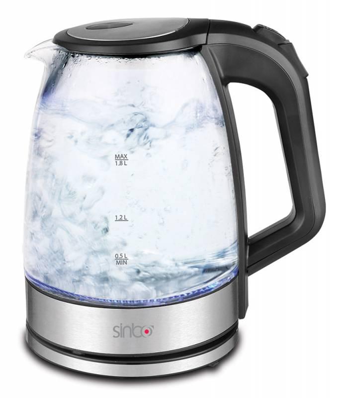 Чайник электрический Sinbo SK 7368 1.8л. 2200Вт черный (корпус: стекло)