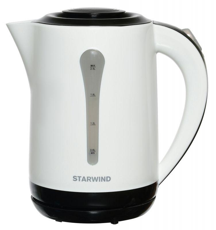 Чайник электрический Starwind SKP2212 2.5л. 2200Вт белый/черный (корпус: пластик)