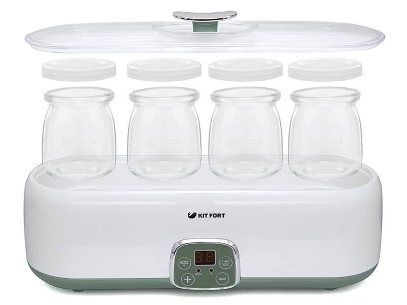 Йогуртница Kitfort KT-2007 20Вт 4б. 180мл упр.:электрон. белый/зеленый