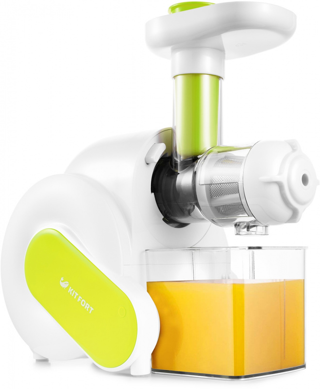 Соковыжималка шнековая Kitfort KT-1110-1 150Вт белый/зеленый