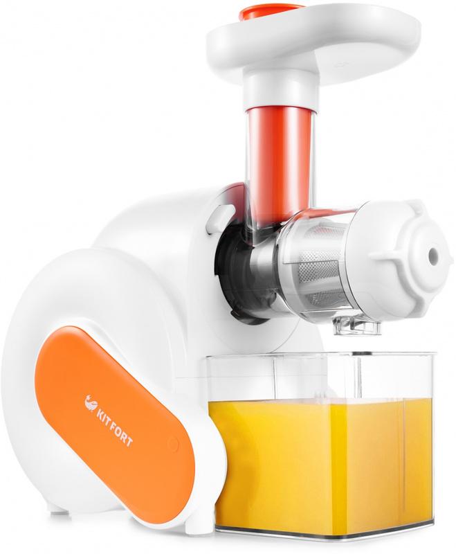 Соковыжималка шнековая Kitfort KT-1110-2 150Вт белый/оранжевый
