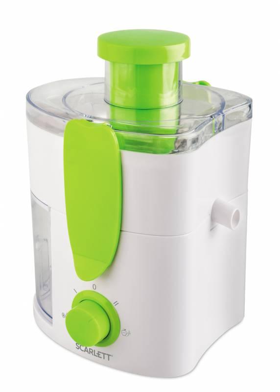 Соковыжималка центробежная Scarlett SC-JE50P01 600Вт рез.сок.:280мл. белый/зеленый