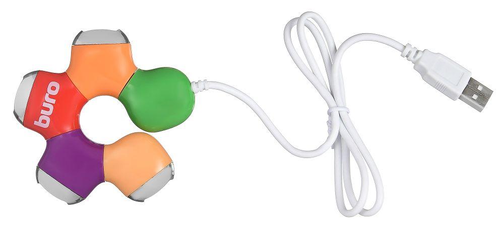 Разветвитель USB 2.0 Buro BU-HUB4-0.5-U2.0-Flower 4порт. разноцветный (плохая упаковка)