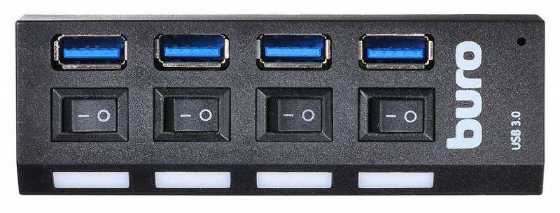 Разветвитель USB 3.0 Buro BU-HUB4-U3.0-L 4порт. черный