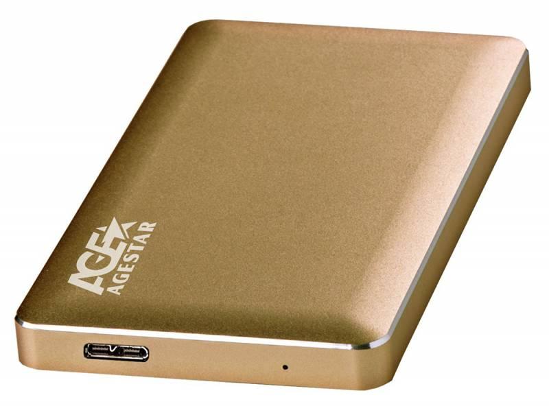 "Внешний корпус для HDD AgeStar 3UB2A16 SATA алюминий золотистый 2.5"""