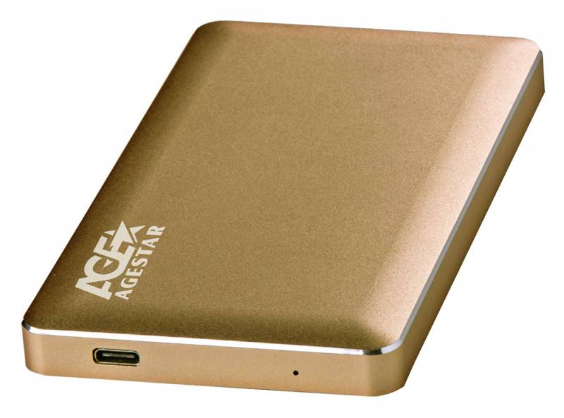 "Внешний корпус для HDD AgeStar 3UB2A16C SATA алюминий золотистый 2.5"""