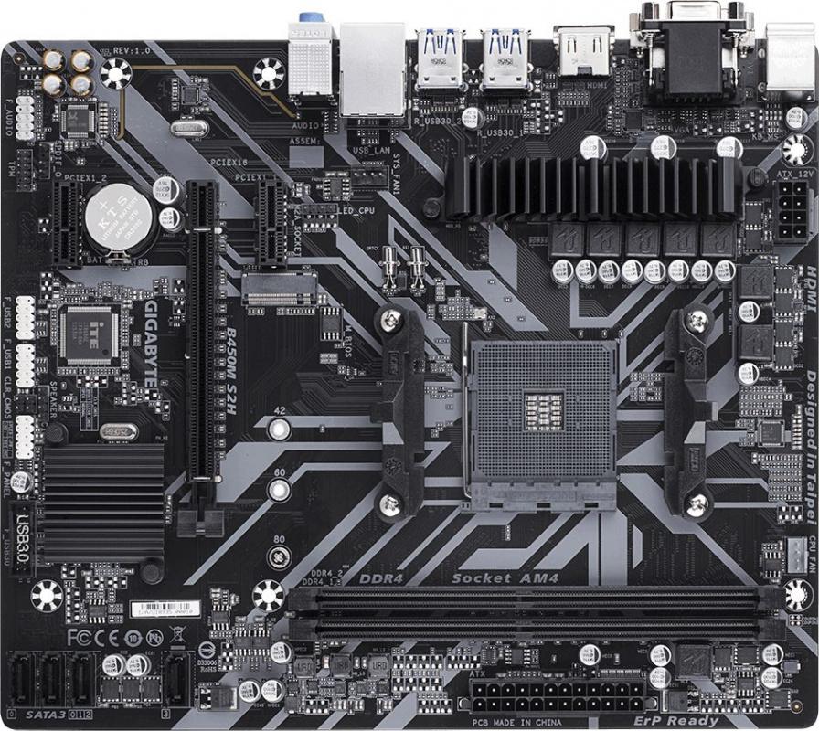 Материнская плата Gigabyte B450M S2H Soc-AM4 AMD B450 2xDDR4 mATX AC`97 8ch(7.1) GbLAN RAID+VGA+DVI+HDMI