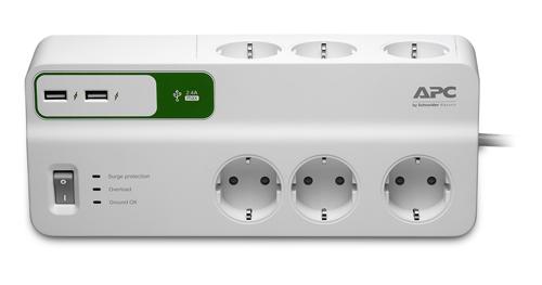Сетевой фильтр APC PM6U-RS 2м (6 розеток) белый (плохая упаковка)