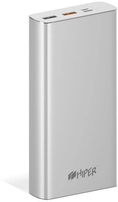 Мобильный аккумулятор Hiper MPX20000 Li-Pol 20000mAh 3A+3A+2.4A серебристый 2xUSB