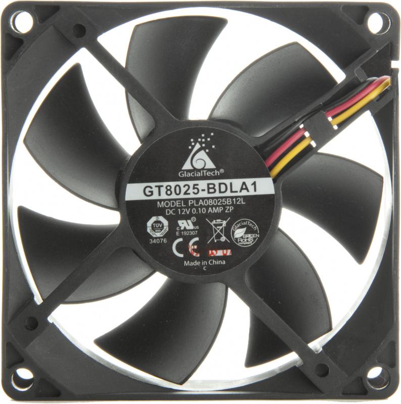 Вентилятор Glacialtech GT8025-BDLA1 80x80x25mm 3-pin 4-pin (Molex)18dB 82gr Bulk