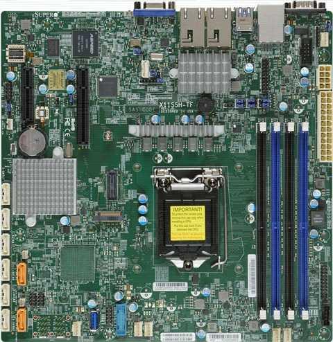 Материнская Плата SuperMicro MBD-X11SSH-TF-O Soc-1151 iC236 mATX 4xDDR4 8xSATA3 SATA RAID iX550 2х10GgbEth Ret