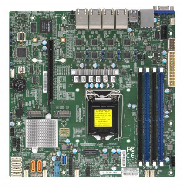 Материнская Плата SuperMicro MBD-X11SCM-LN8F-O Soc-1151 iC246 mATX 4xDDR4 6xSATA3 SATA RAID i210AT 8xGgbEth Ret