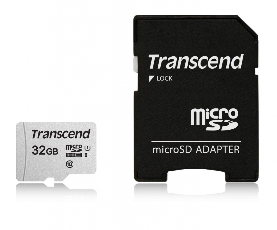 Флеш карта microSDHC 32Gb Class10 Transcend TS32GUSD300S-A + adapter
