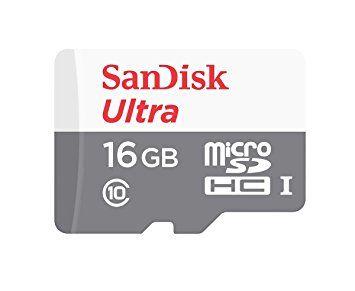 Флеш карта microSDHC 16Gb Class10 Sandisk SDSQUNS-016G-GN3MA Ultra 80 + adapter