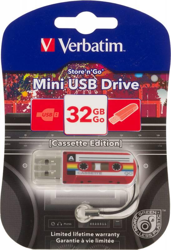 Флеш Диск Verbatim 32Gb Mini Cassette Edition 49392 USB2.0 красный/рисунок