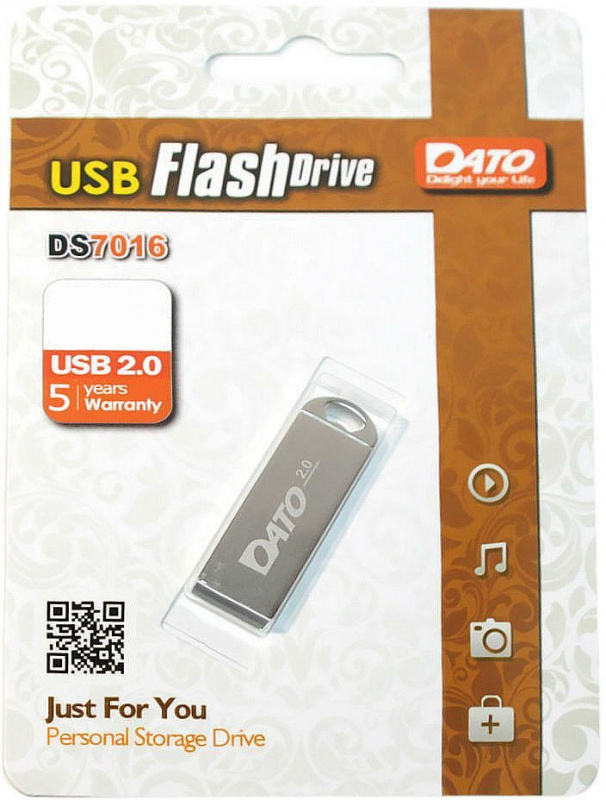 Флеш Диск Dato 16Gb DS7016 DS7016-16G USB2.0 серебристый