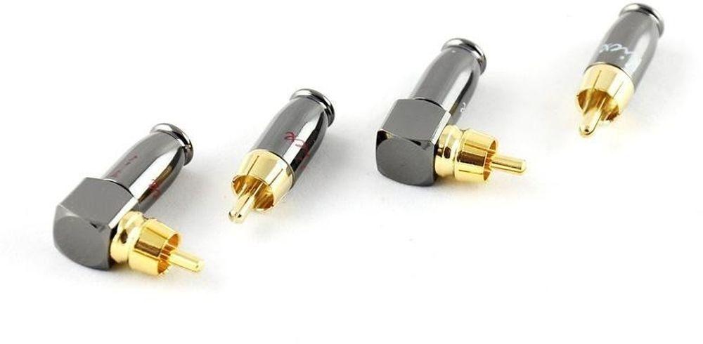 Коннектор Kicx DRCA-4SA серебристый/золотистый Комплект из 2-х прямых и 2-х угловых металлических RCA коннекторов в упаковке, наконечники с никилерованным покрытием, диаметр под RCA кабель до 9мм (упак.:4шт)