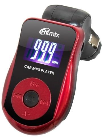 Автомобильный FM-модулятор Ritmix FMT-A720 красный SD USB PDU (15116561)