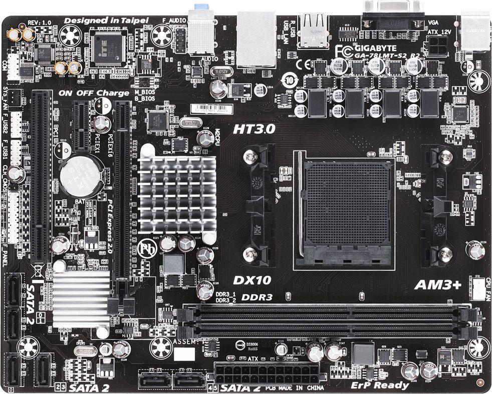 Материнская плата Gigabyte GA-78LMT-S2 R2 Soc-AM3+ AMD 760G 2xDDR3 mATX AC`97 8ch(7.1) GbLAN RAID+VGA