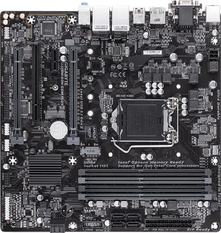 Материнская плата Gigabyte Q370M D3H GSM PLUS Soc-1151v2 Intel Q370 4xDDR4 mATX AC`97 8ch(7.1) 2xGgE RAID+VGA+DVI+HDMI+DP