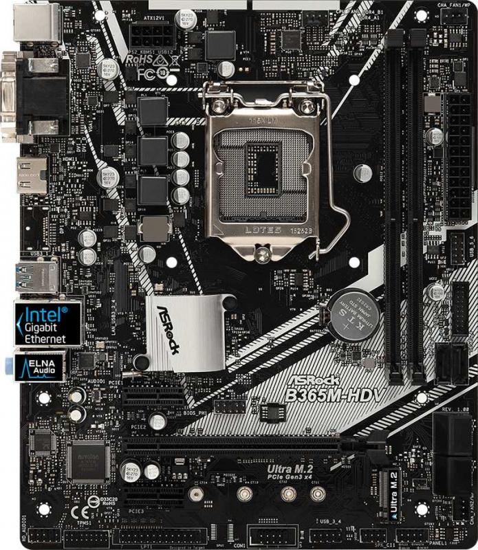 Материнская плата Asrock B365M-HDV Soc-1151v2 Intel B365 2xDDR4 mATX AC`97 8ch(7.1) GbLAN+VGA+DVI+HDMI
