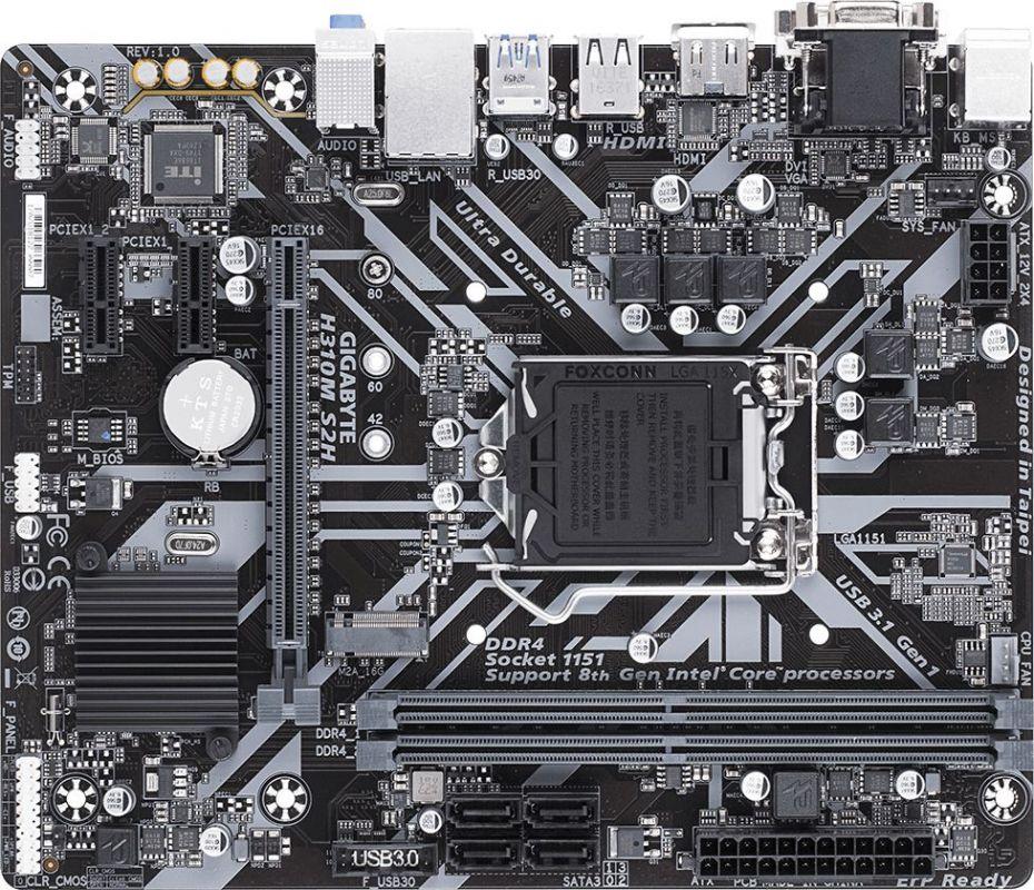 Материнская плата Gigabyte H310M S2H Soc-1151v2 Intel H310 2xDDR4 mATX AC`97 8ch(7.1) GbLAN+VGA+DVI+HDMI