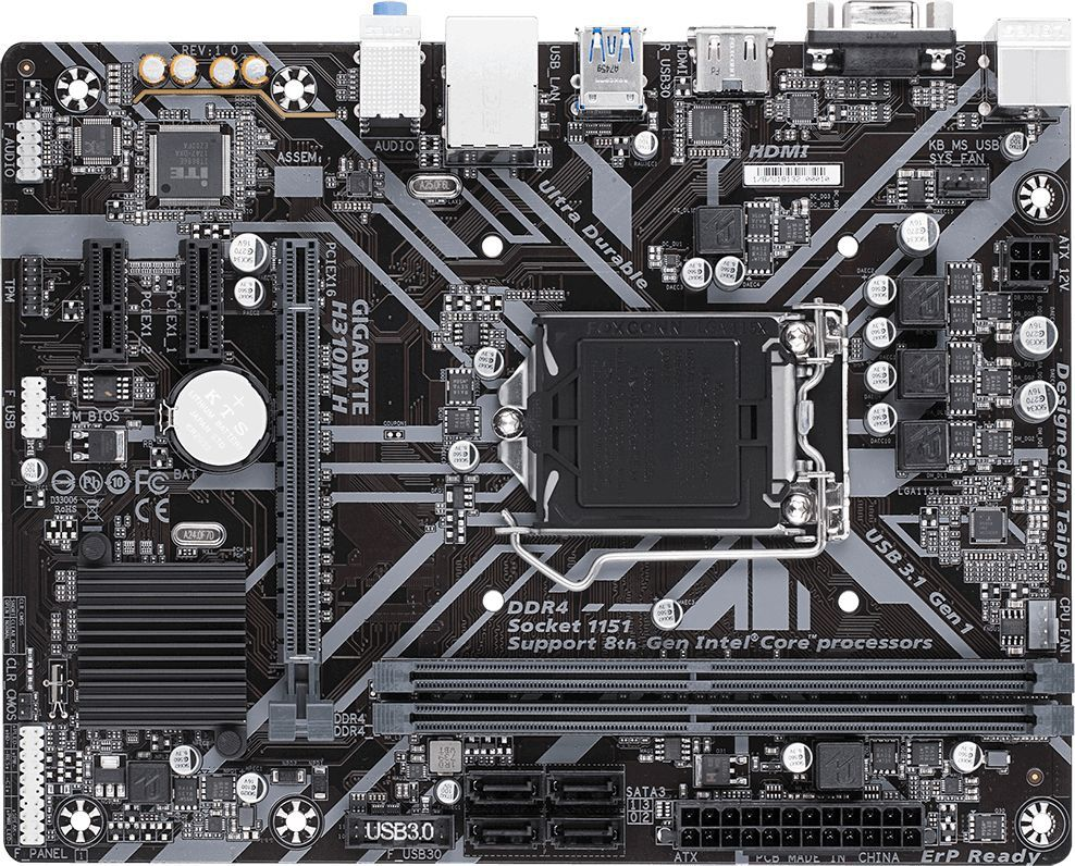 Материнская плата Gigabyte H310M H 1.1 Soc-1151v2 Intel H370 2xDDR4 mATX AC`97 8ch(7.1) GbLAN+VGA+HDMI