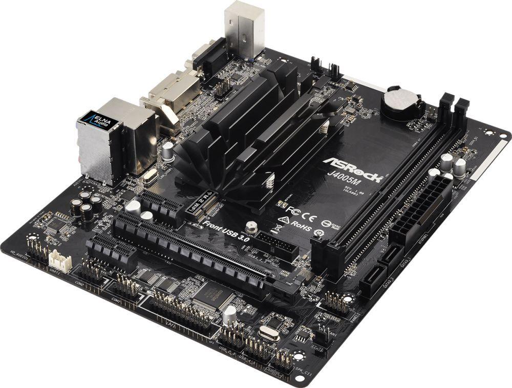 Материнская плата Asrock J4005M 2xDDR4 mATX AC`97 8ch(7.1) GbLAN+VGA+DVI+HDMI