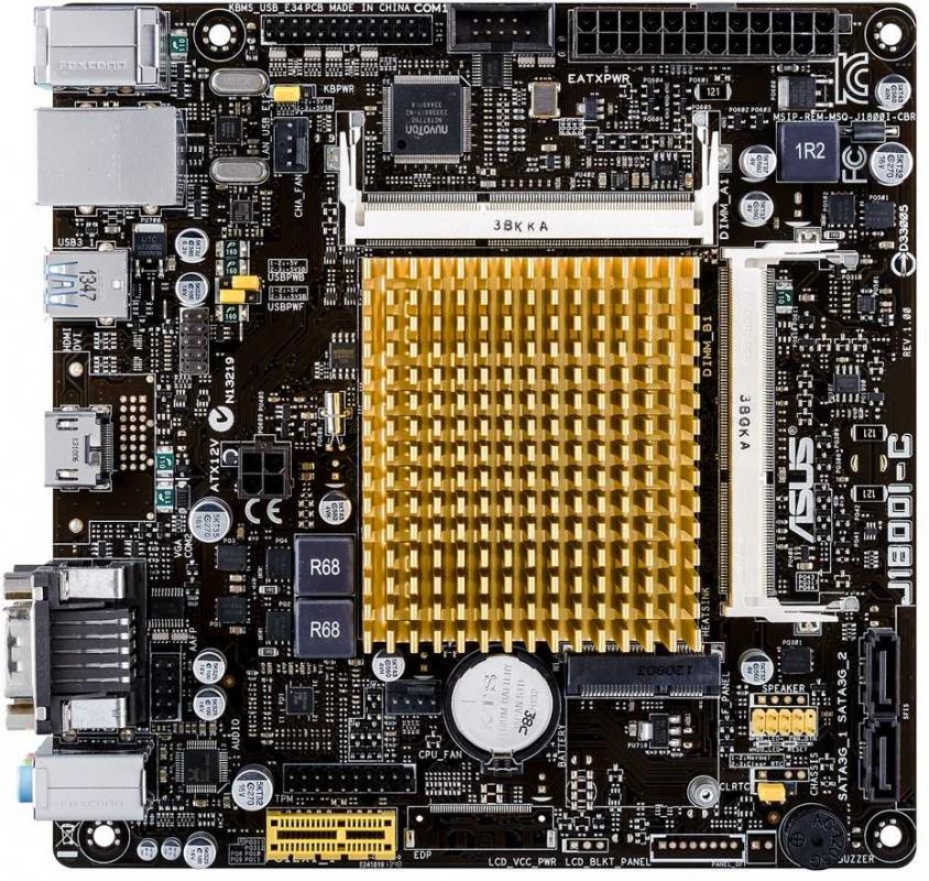 Материнская плата Asus J1800I-C/CSM 2xDDR3L mini-ITX AC`97 8ch(7.1) GbLAN+VGA+HDMI