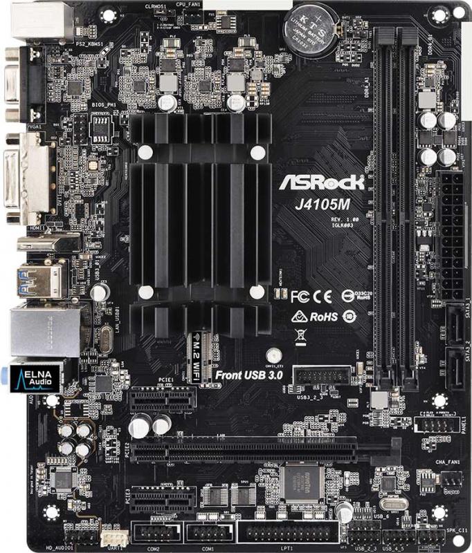 Материнская плата Asrock J4105M 2xDDR4 mATX AC`97 8ch(7.1) GbLAN+VGA+DVI+HDMI
