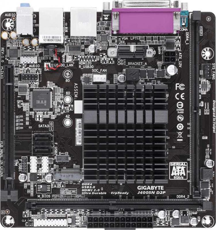 Материнская плата Gigabyte J4005N D2P 2xDDR4 mini-ITX AC`97 8ch(7.1) GbLAN+VGA+HDMI