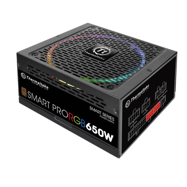 Блок питания Thermaltake ATX 650W SMART PRO RGB 80+ bronze (24+4+4pin) APFC 140mm fan color LED 6xSATA Cab Manag RTL