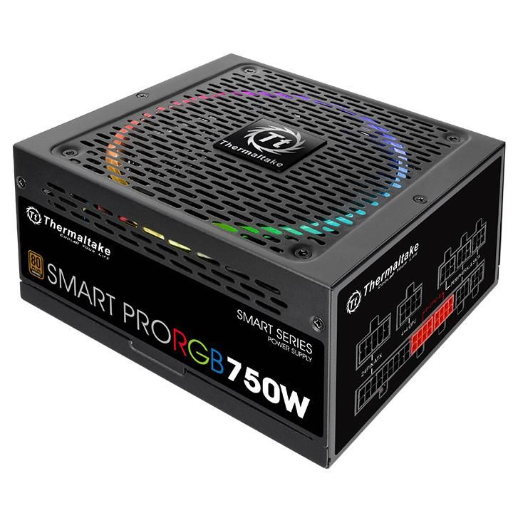 Блок питания Thermaltake ATX 750W SMART PRO RGB 80+ bronze (24+4+4pin) APFC 140mm fan color LED 9xSATA Cab Manag RTL