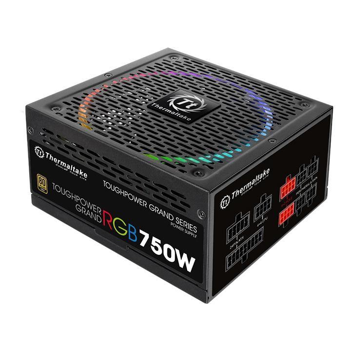 Блок питания Thermaltake ATX 750W Toughpower Grand RGB 80+ gold (24+4+4pin) APFC 140mm fan color LED 9xSATA Cab Manag RTL