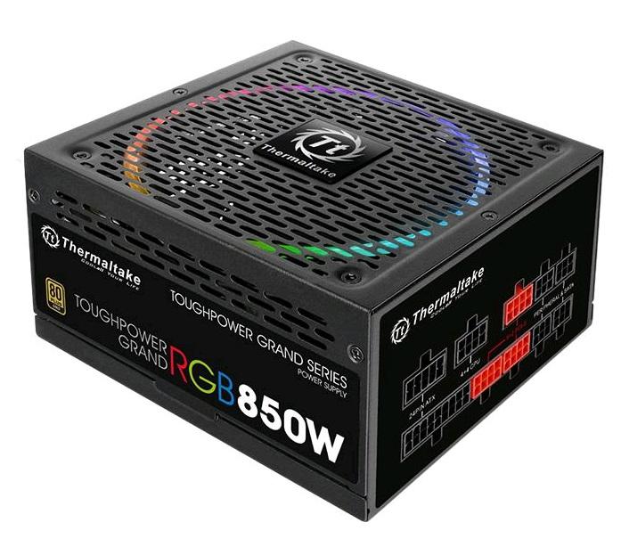 Блок питания Thermaltake ATX 850W Toughpower Grand RGB 80+ gold (24+4+4pin) APFC 140mm fan color LED 12xSATA Cab Manag RTL