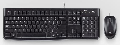 Клавиатура + мышь Logitech MK120 клав:черный мышь:черный/серый USB