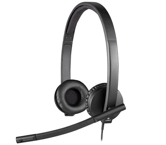 Наушники с микрофоном Logitech H570e Stereo черный 2.1м мониторные оголовье (981-000575)