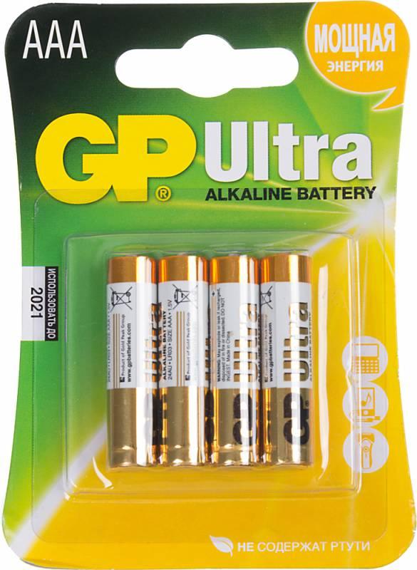 Батарея GP Ultra Alkaline 24AU LR03 AAA (4шт)